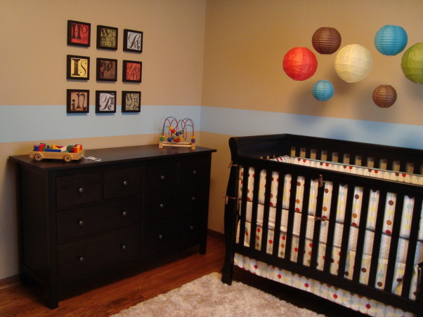 "Modern Baby Boy's Room, We tried to create a space that was modern and still baby boy-ish.  We are very happy with the results and hope someone can find some inspiration from our space.  I used this site for many ideas!, ""How Wonderful Life is While You're in the World"" Artwork (etsy.com seller suzannaanna) Toys & Hemnes Dresser (Ikea) , Nurseries Design"