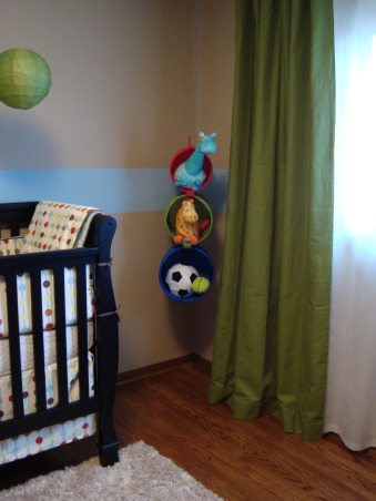 Modern Baby Boy's Room, We tried to create a space that was modern and still baby boy-ish.  We are very happy with the results and hope someone can find some inspiration from our space.  I used this site for many ideas!, Hanging Toy Organizer (Ikea) Drapes (Pottery Barn), Nurseries Design