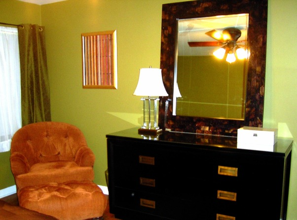 jungle chic, colorful, fun and glam on a shoestring budget, quickest way to dress up bedroom furniture?  top with custom cut glass.  instant glam on the cheap!, Bedrooms Design