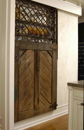 "Storage and Barn Door, I did this kitchen 2 years ago and used a barn door I carried around for years to create a nice ""Spice Storage Area"" , My Beautiful old barn door.   , Kitchens Design"