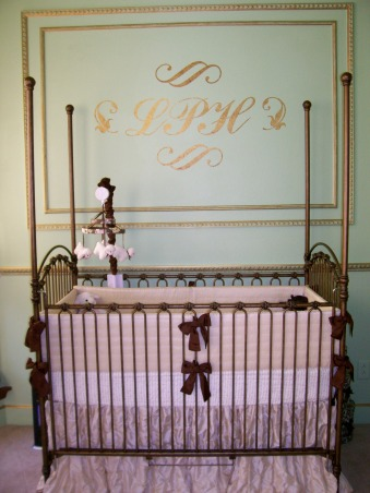 Paris Inspired Nursery, Celebrity style nursery inspired from a recent trip to Paris while I was pregnant with our little girl, Lila Paris.  The color motif comes from the famous chocolate shop Laduree. , Nurseries Design