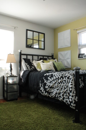 Green Black and White Bedroom, This is our guest bedroom. I still need to get a proper bedside table, but for the most part, the room is finished., The rug is probably my favorite element of this room - and I got it at Lowes for something like $30.00.  Such a steal.  The bedding is from Overstock and the bed was a craigslist find.  , Bedrooms Design