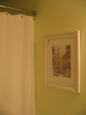 My 8 x 5 bathroom, This is my recently redecorated bathroom. It is very small so I tried to make it as bright and clean as possible. I have used a pale / bright green with white accents and accessories. I have also used some New Orleans paintings to give it a French Quarter feel. Please let me know what you think., Bathrooms Design