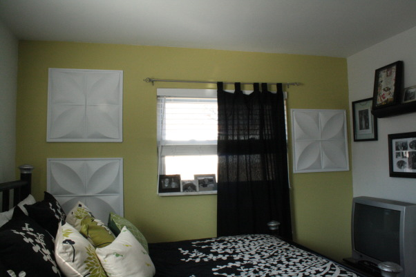 Green Black and White Bedroom, This is our guest bedroom. I still need to get a proper bedside table, but for the most part, the room is finished., Bedrooms Design