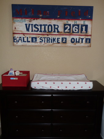 Baseball Nursery, I work in professional baseball and wanted my little boy to have an all-American, vintage inspired sports nursery.  We have a 9 foot baseball bat, hand painted art of a baseball and scoreboard, using our last name as the field name and my son's name Connor in a jersey baseball script., Nurseries Design
