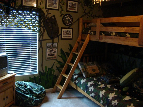 Camo Boys Bedroom by DSNY HOMES, Hi Everyone, This themed bedroom is in one of our family vacation rental homes near Disney in Orlando. You can view more photos at http://www.dsnyhomes.com, 3rd view , Boys' Rooms Design
