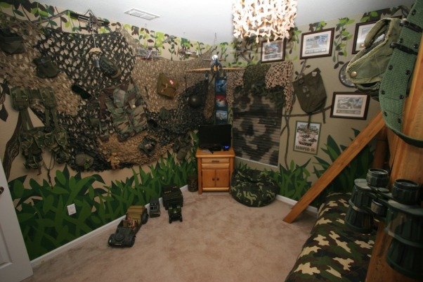 Camo Boys Bedroom by DSNY HOMES, Hi Everyone, This themed bedroom is in one of our family vacation rental homes near Disney in Orlando. You can view more photos at http://www.dsnyhomes.com, 2nd view  , Boys' Rooms Design