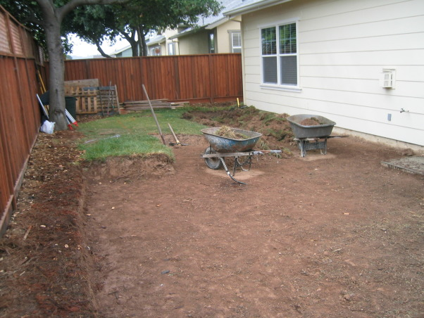 Outdoor Kitchen and Eating Area, Our backyard is small (21x52) and we made the most out of the space we have.   We love to sit outside with a glass of wine and enjoy the evening., First day of construction - grass and dirt removal        , Outdoor Spaces