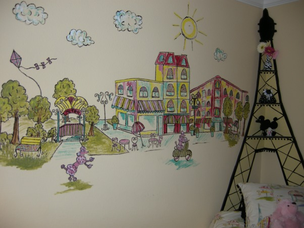 Diva Paris zebra room, I painted this mural to match her comforter, Girls' Rooms Design