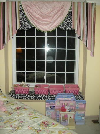 Diva Paris zebra room, zebra window seat with three coordinating fabrics for the valance I made, Girls' Rooms Design