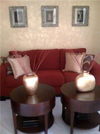 Red and Gold Living Room, Red and Gold Living Room with African accents., Living Rooms Design