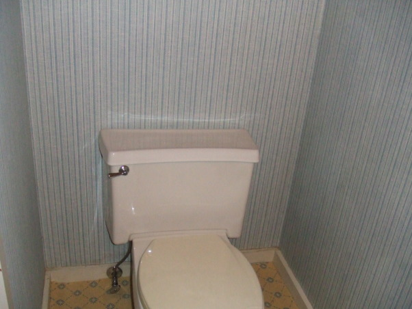 """Sleek, modern, small bathroom, I updated a small and very outdated half bathroom.  I installed glass tile, glass vanity, glass sink, and glass faucet to create very airy feel.  I ran the tiles (subway pattern) verticaly to elongate the room.  I used the same tile on floor and wall to create illusion of length., The dreaded """"before"""" (2 of 2).  Notice the wallpaper and carpet!     , Bathrooms Design"""