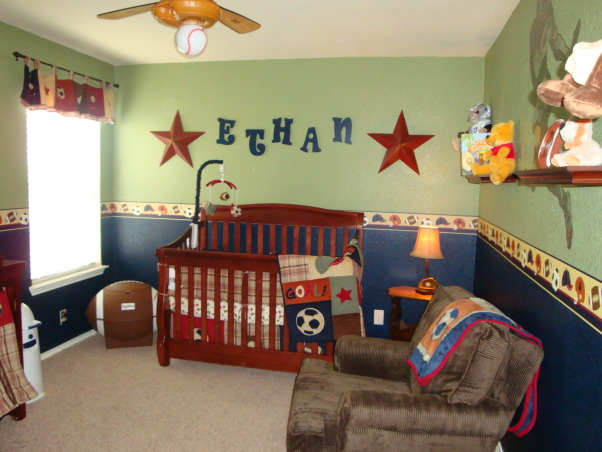 "My Little MVP, This room was designed with love for our ""Little MVP"", Ethan...due at the end of April!, Ethan's nursery, Nurseries Design"