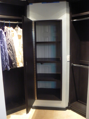 New Master Closet, This is the closet half of my bathroom/closet remodel.  My husband went all out on this closet, but spent less than $1000. , The hall linen closet now opens into the master closet. Storage!, Closets & Utility
