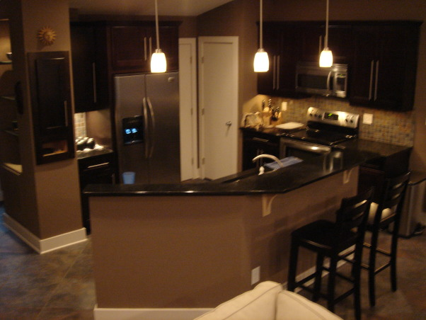 Living / Kitchen / Dining Room, Before and After Renovation shots of our Kitchen/Living/Dining Room.  Some of the before photos are a wreck, but they were taken while some other areas of the renovation had arleady begun. The place was truly a mess and we lived there during the whole process. It was 5 months of living in a spare room and taking the dog outside on a leash to pee, but it was worth it.  A friend pointed out that we neglected to mention that we added about 15 feet off the back of the house to get this amazing room. You can see it on our exterior house pictures., Kitchen Area After Renovation     , Living Rooms Design