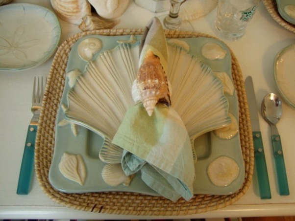 "IT'S A BEACH PARTY...OUT ON THE PORCH!, Yea! Spring is officially here, which means summer isn't far behind.  It's the perfect time of the year for dining outside.  Hope you enjoy this ""beach"" themed tablescape.  If you enjoy seeing all types of tablescapes, please stop by my blog for a visit: http://betweennapsontheporch.blogspot.com.  Every Thursday is Tablescape Thursday at Between Naps on the Porch!  :-)  , Shell salad plate...        , Porches Design"