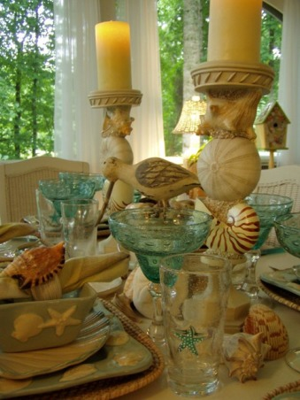 "IT'S A BEACH PARTY...OUT ON THE PORCH!, Yea! Spring is officially here, which means summer isn't far behind.  It's the perfect time of the year for dining outside.  Hope you enjoy this ""beach"" themed tablescape.  If you enjoy seeing all types of tablescapes, please stop by my blog for a visit: http://betweennapsontheporch.blogspot.com.  Every Thursday is Tablescape Thursday at Between Naps on the Porch!  :-)  , Found this cute china at Kohl's last summer...and I've noticed they are getting it all in again for this summer.         , Porches Design"
