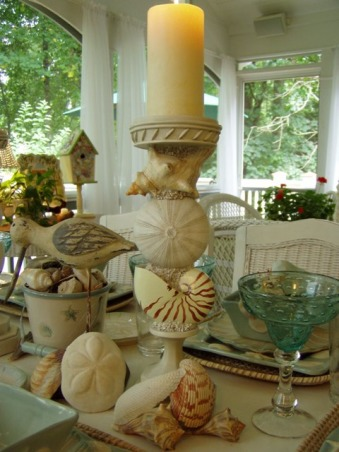 "IT'S A BEACH PARTY...OUT ON THE PORCH!, Yea! Spring is officially here, which means summer isn't far behind.  It's the perfect time of the year for dining outside.  Hope you enjoy this ""beach"" themed tablescape.  If you enjoy seeing all types of tablescapes, please stop by my blog for a visit: http://betweennapsontheporch.blogspot.com.  Every Thursday is Tablescape Thursday at Between Naps on the Porch!  :-)  , Found these cute shell candle holders at Home Goods last summer...    , Porches Design"