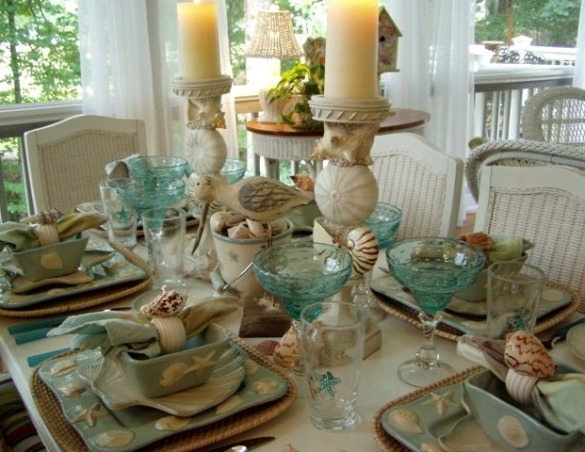 "IT'S A BEACH PARTY...OUT ON THE PORCH!, Yea! Spring is officially here, which means summer isn't far behind.  It's the perfect time of the year for dining outside.  Hope you enjoy this ""beach"" themed tablescape.  If you enjoy seeing all types of tablescapes, please stop by my blog for a visit: http://betweennapsontheporch.blogspot.com.  Every Thursday is Tablescape Thursday at Between Naps on the Porch!  :-)  , It's a gorgeous day out here on the porch.  If I close my eyes, the breezes have me dreaming of a day at the beach...         , Porches Design"