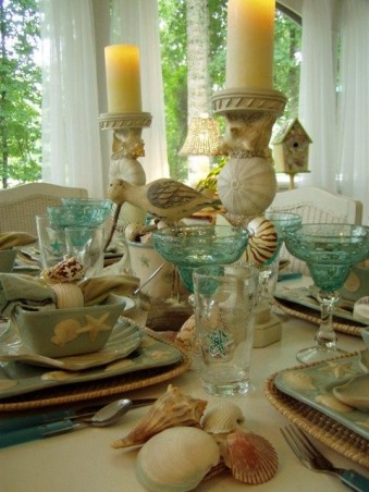 "IT'S A BEACH PARTY...OUT ON THE PORCH!, Yea! Spring is officially here, which means summer isn't far behind.  It's the perfect time of the year for dining outside.  Hope you enjoy this ""beach"" themed tablescape.  If you enjoy seeing all types of tablescapes, please stop by my blog for a visit: http://betweennapsontheporch.blogspot.com.  Every Thursday is Tablescape Thursday at Between Naps on the Porch!  :-)  , Porches Design"