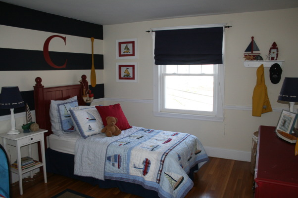 Conner's Nautical Boys Room, We had so much fun creating this space for our 3 yr old son. My husband painted vertical stripes on the wall and we added a C from Wallwords above the bed. The bedding and roman shades are from Pottery Barn kids. , Boys' Rooms Design