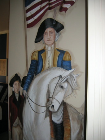 History Buff Kid's Room, This little boy and his brother both have autism and it was his dream to have a room with Thomas Jefferson, Ben Franklin and George Washington and the Declaration of Independence.  His mom says he spends hours in his room with all his history books., George up close and personal.  , Boys' Rooms Design