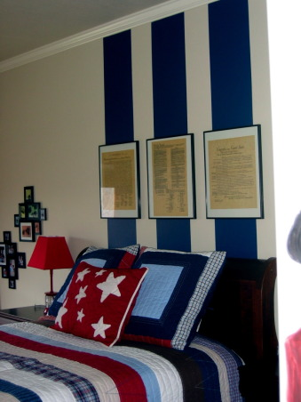 History Buff Kid's Room, This little boy and his brother both have autism and it was his dream to have a room with Thomas Jefferson, Ben Franklin and George Washington and the Declaration of Independence.  His mom says he spends hours in his room with all his history books., David picked out his favorite government articles and we had them framed and put in a special place over his bed.   , Boys' Rooms Design