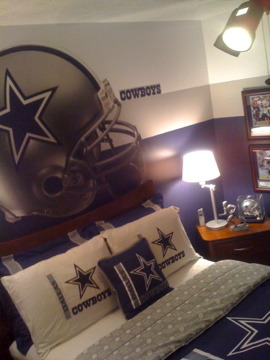 Son's Dallas Cowboy Inspired Room, This room consist of all the colors associated with the Dallas Cowboys, My 13 year olds' Dallas Cowboy Bedroom , Boys' Rooms Design