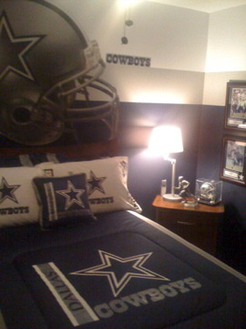 Son's Dallas Cowboy Inspired Room, This room consist of all the colors associated with the Dallas Cowboys, Wall Helmet from FATHEADS.com. There is a Tony Romo FATHEAD on the opposite wall. , Boys' Rooms Design