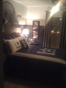 Son's Dallas Cowboy Inspired Room, This room consist of all the colors associated with the Dallas Cowboys, Wall colors are all Benjamin Moore official NFL colors , Boys' Rooms Design
