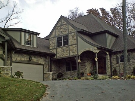 French Country Exterior, Exterior of the home was designed by me combining several different types of exteriors.  Stone and brick are combined with stucco accents., French Country style home with brick and stone and stucco accents.  Designed by me., Home Exterior Design