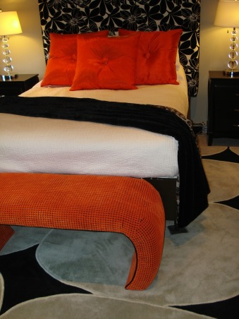 Bold Graphic Motiff Black/Green/Orange, Updated May 09 photos.... I added a better shot of the headboard fabric.  Bold modern graphic large scale design with some contemporary elements mixed with eclectic furniture styles. The window treatment material was the jumping off point. I made the curtains headboard pillows., cool curved bench        , Bedrooms Design