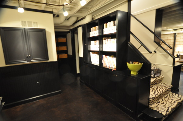 "My ""Industrial"" Basement Remodel, Our 1968 home was busting at the seams when we added another baby last year.... and about the same time, I decided I wanted to start my own interior design business.  We needed some ""adult"" space to get away from the chaos of toys, toys and more toys!  I decided to put my design skills to work and created an ""industrial"" style lounge/bar for entertaining and relaxing, as well as a design studio for my new business.  After sketching a plan and meeting with a contractor, it was amazing to see my idea come to life.  I decided to use the existing ceiling, walls and floor to save on space that would have been needed to drop in a ceiling and sheetrock the walls.    Hope you like it!, Basements Design"