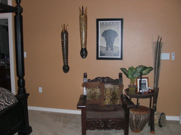"Out of Africa-inspired Safari Master Bedroom, I love African animals and style, have always dreamed of doing a safari-type bedroom, but when I wanted to do it, it wasn't ""in style"".  Finally I did it anyway, and now it is in style!, Bedrooms Design"