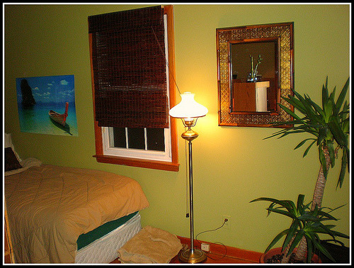 Bamboo Bedroom, From Orlando Magic blue to tropical green! Painted the walls green and used a golden brown accent wall. Bought new bamboo roman shades and added a touch of the tropics with plants and decor! , after, Bedrooms Design