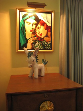 1940s Modern Gilbert Rohde Library/Office, This is the room we use the most often, it has all the books, comfortable chairs, and a television hidden in the closet., Another painting I did in college, and a Walter Bosse donkey on top of a Gilbert Rohde filing cabinet.  , Home Offices Design