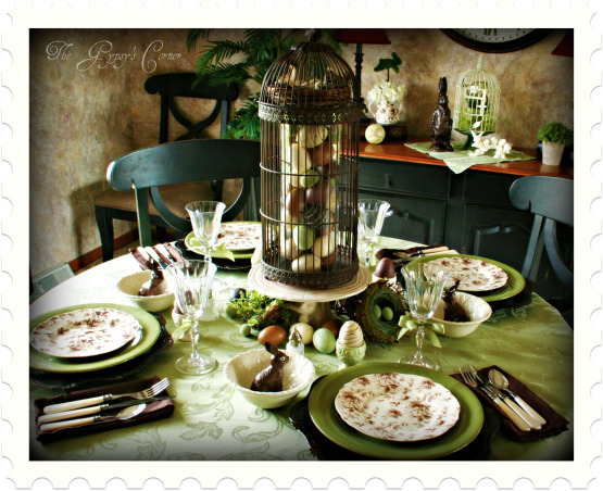 Chocolate Easter Table , The inspiration came from the faux bunnies found at Joann's and the cream bowls from TJ Maxx. The rest are all items I had, I just stuck with the green, brown and cream color theme and tried to alternate the colors with the plates. www.gypsycorner.blogspot.com, Dining Rooms Design