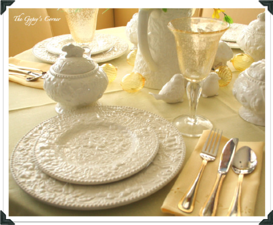 Easter Table with a lil' sunshine, My favorite white bunny dishes from TJ Maxx, yellow florals, yellow table linens and some yellow glass eggs bring the sunshine inside.  www.gypsycorner.blogspot.com, Dining Rooms Design