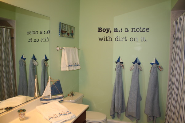 Boys Bathroom, With 3 young boys, I just couldn't paint yet another room in the house blue!  So I took a leap of faith and painted the bathroom a seaside green.  I had my shower curtain and towels already, so I was trying to find something that would work with it. , Bathrooms Design