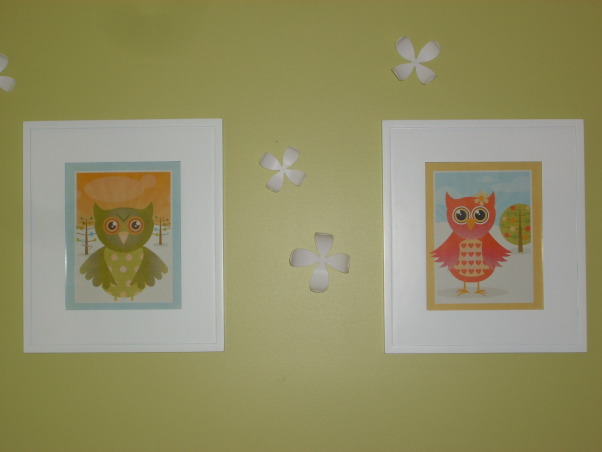 fun and fresh owl inspired nursery, I wanted a room that felt open and airy and fresh and colorful.  I love owls and used them sprinkled throughout to add character and color.  The room is for our baby girl due in June and I think it's perfect for a little girl, but not overly girly.  The crib and changing table is Amy Coe brand from Babies R Us.  The chair is from IKEA.  The bedding was fabric I had from a duvet cover and I hired someone on the site Etsy to make it.  I loved how it turned out.  My mom made the cute window valance and my husband made the little owl artwork.  Let me know what you think!, Nurseries Design