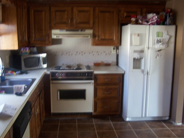 redo-painted my laminate countertops to look like granite!!!, Ok, so i have had 3 attempts at my living room color...but my kitchen is on the 5th color in the last 5 months and i am sure there is no right color for this kitchen! I need help. I love neutrals and earth tones but i have no idea how to make this horrible kitchen work., before pics  , Kitchens Design