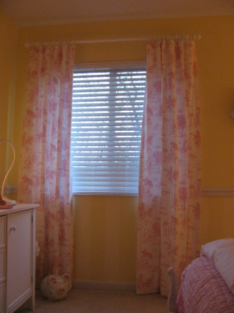 """Pretty in Pink"" and Yellow, This space is for my 2yr. old.  The draperies and bedskirt are custom made.  The toile fabric was purchased on ebay it is Robert Kaufman-Too Cute to Boot.  The headboard has been reapolstered.  The furniture is hand me downs.  She loves pink!, Girls' Rooms Design"