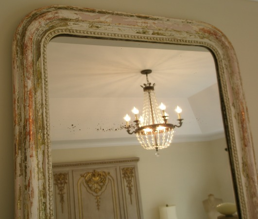 Reflections ~ Mirrors and Chandeliers, When I recently bought a mirror, a Louis Philippe period mirror, I was so thrilled that it made me think about my design aesthetic:  a mirror and chandelier in every room.  I am so enchanted with my new (old) mirror that I wanted to highlight the mirrors and chandeliers in my favorite rooms., This is a Louis Philippe mirror from Provence with the original glass.  The painted finish is rubbed back to reveal many layers, including white, pink green and gold gilt.          , Other Spaces Design