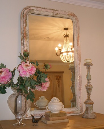 Reflections ~ Mirrors and Chandeliers, When I recently bought a mirror, a Louis Philippe period mirror, I was so thrilled that it made me think about my design aesthetic:  a mirror and chandelier in every room.  I am so enchanted with my new (old) mirror that I wanted to highlight the mirrors and chandeliers in my favorite rooms., A Paris Flea Market Chandelier is a romantic companion for pink Louis.        , Other Spaces Design