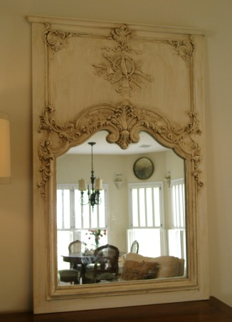 Reflections ~ Mirrors and Chandeliers, When I recently bought a mirror, a Louis Philippe period mirror, I was so thrilled that it made me think about my design aesthetic:  a mirror and chandelier in every room.  I am so enchanted with my new (old) mirror that I wanted to highlight the mirrors and chandeliers in my favorite rooms., This is a reproduction French trumeau with a hunt scene in an antique white.        , Other Spaces Design