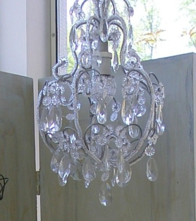 Reflections ~ Mirrors and Chandeliers, When I recently bought a mirror, a Louis Philippe period mirror, I was so thrilled that it made me think about my design aesthetic:  a mirror and chandelier in every room.  I am so enchanted with my new (old) mirror that I wanted to highlight the mirrors and chandeliers in my favorite rooms., A little crystal pendant chandelier is a perfect partner for the shabby chic mirror.        , Other Spaces Design