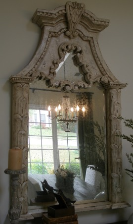 "Reflections ~ Mirrors and Chandeliers, When I recently bought a mirror, a Louis Philippe period mirror, I was so thrilled that it made me think about my design aesthetic:  a mirror and chandelier in every room.  I am so enchanted with my new (old) mirror that I wanted to highlight the mirrors and chandeliers in my favorite rooms., As I walked through the store reminding myself, ""think farmhouse, think farmhouse,"" this reproduction with aged glass jumped out at me.        , Other Spaces Design"