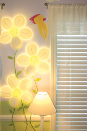 Northwoods Nursery, Fun and Funky girl's nursery, with just enough sugar and spice to sweeten a baby girl's day. , Flower lamps $18 dollars from Ikea, light up the day and the night. , Nurseries Design