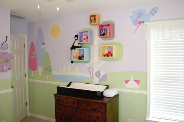 Northwoods Nursery, Fun and Funky girl's nursery, with just enough sugar and spice to sweeten a baby girl's day. , More of the Northwoods on the southern wall , Nurseries Design
