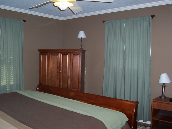 Earthtone Master Bedroom, This master bedroom has earth tones and cherry woods.  Also good crown moulding., Bedrooms Design